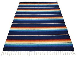 #776 Blanket Throw Sarape Bed Cover Navy Mexico Beach Yoga Mat Travel Wr... - $38.56 CAD