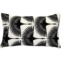 Pillow Decor - Winter Flock Black and White Throw Pillow 12x20 - $49.95