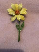 Vintage Yellow & Orange Metal Enamel Flower Brooch Pin W/Green Stem 1960's - $23.38