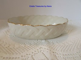 LENOX CHINA OVAL LATTICE SERVING BOWL IVORY WITH GOLD TRIM FOIL STICKER ... - $14.80