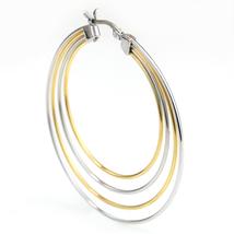 Trendy Large Silver & Gold Tone (Two Tone) Hoop Earrings- United Elegance image 2