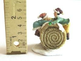 Christmas Village Figurine Hay Bale Stack Girl Boy Children Climbing Rol... - $13.99