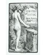 NUDE EX LIBRIS Male in Garden Holding Palm Branch - 1922 Lichtdruck Print - $10.12