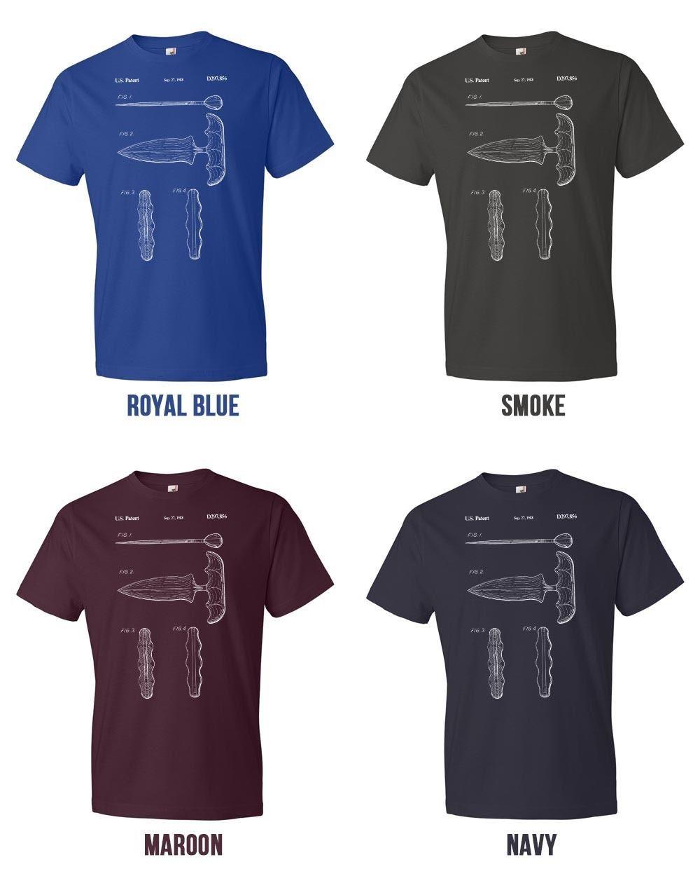 Push Knife T-Shirt Patent Art Gift Push Dagger Combat Knife Push Knife Patent