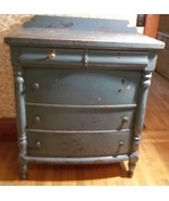 "Chest of Drawers/Dresser- Painted Turquoise;Solid Wood;Distressed;36""W;2... - $299.99"