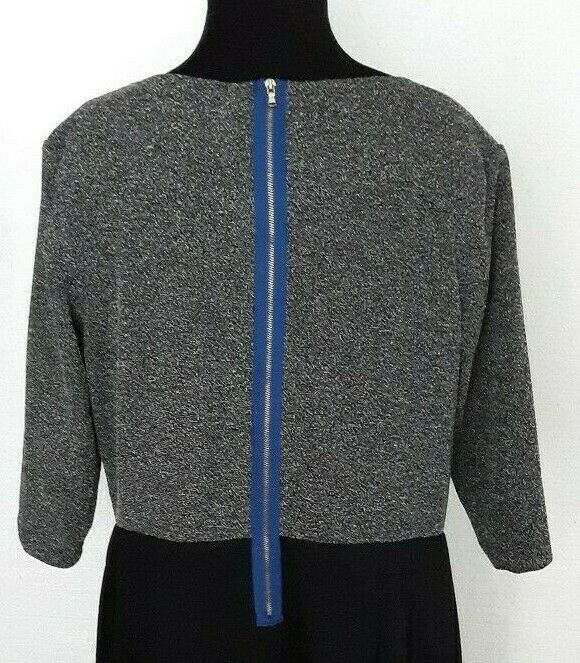 New Directions SZ 8 Gray Tweed And Black Dress Ruched Front 3/4 Sleeve Career