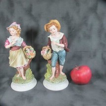 Pair Large Andrea Figures Boy & Girl Carrying Baskets of Flowers #8434, ... - £18.02 GBP