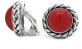 Vintage Clip On Earrings Red Braided Rope Round Women Antique Fashion - $59.54