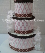 Pink and Brown Elegant Themed Baby Girl Shower 3 Tier Diaper Cake Gift - $57.00