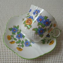 Vintage Aynsley BLUE & YELLOW FLORAL China CUP & SAUCER Green Trim England - $33.94