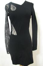 VERSUS VERSACE Dress Bodycon Black Bias Lace Cut Out Asymmetrical NWOT 6/42 - $629.99