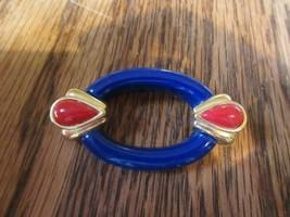 Vintage Eighties Japanese Blue Red Gold Tone Enamel Plastic Pin Brooch - $9.75