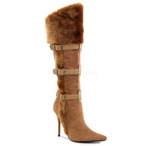 "FUNTASMA Viking-102 Series 4 1/4"" Heel Knee-High Boots - Tan Microfiber-Pu - $37.95"