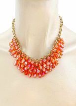 Casual Chic Bright Orange, Tangerine,Coral Glass Czech Bead Necklace Ear... - $19.95