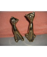 Pair Vintage Solid Brass Siamese Cats Kittens Figurines Statues Sculptur... - $44.55