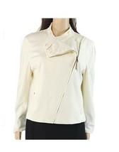 New Lauren Ralph Lauren Womens Asymmetric Zip Moto Jacket Ivory M - $79.15