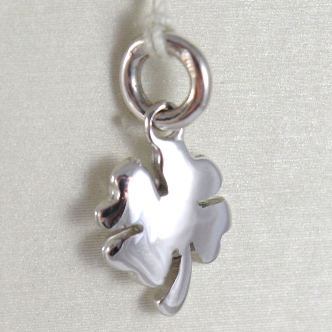 WHITE GOLD PENDANT 750 18K FOUR-LEAF CLOVER SOLID, LONG 1.7 CM, MADE IN ITALY