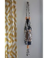 Macrame Wine Bottle Carrier in Navy, Natural, and Mustard (Wine NOT Incl... - $22.00
