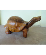 Tortoise Carving in Wood Brown Sculpture Galapagos islands 1990 Santa Cruz - $38.15 CAD