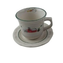 Pfaltzgraff SNOW VILLAGE Flat Coffee Cup & Saucer Set Christmas Holiday - $9.69