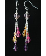 Sterling Silver Earrings_Light Amethyst and Various Crystals - $40.00