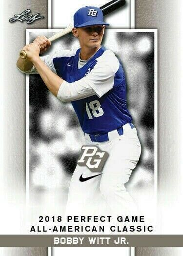 """BOBBY WITT JR. 2018 """"1ST EVER PRINTED"""" LEAF PERFECT GAME AA CLASSIC ROOKIE CARD"""