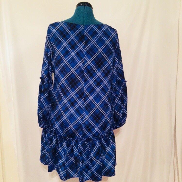 Eliza J Blue Plaid Drop Waist Size 10 Long Sleeve New