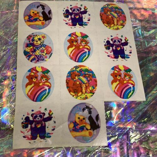 Lisa Frank Vintage Partial Sticker Sheet Patchwork Painter  Heart Pandas S109