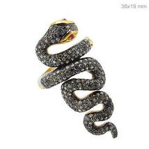 Argent Sterling Serpent Bague de Créateur Diamants Pavé Pierre Précieuse... - $296.61