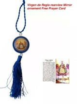 Virgen De Regla Medall rearview mirror Car Ornament blue hanging pendant... - $7.91