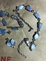 Gorgeous Vintage Lt Blue Thermoset  Necklace Earrings Set - Silver Tone - $22.00