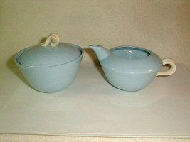 Mid Century homer laughlin skytone sugar creamer set blue 1950's VG Unused - $35.00