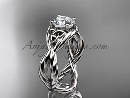 Celtic engagement ring, 14kt white gold celtic rope engagement ring RPCT... - $850.00