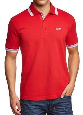Hugo Boss Men's Premium Cotton Green Tag Sport Polo Shirt T-Shirt Red