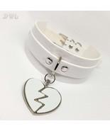DWL BDSM Collar With Matching Broken Heart Charm WHITE - $16.99