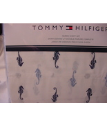 Tommy Hilfiger Blue and Navy Seahorses on White Sheet Set Queen - $49.00