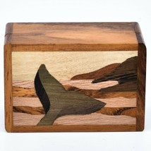 Northwoods Wooden Parquetry Nautical Ocean Marine Whale Tail Mini Trinket Box image 2