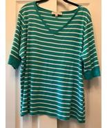 Jones New York Sport Top Shirt Womens 3X VNeck Elbow Sleeve Striped Gree... - $15.99