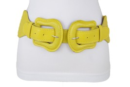 Damen Mode Groß Doppel West Schnallen Elastisch Gelb Gürtel Hüfte Taille... - $28.37