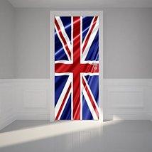 Door Wall Sticker Union Jack Flag - Peel & Stick Repositionable Fabric D... - $45.95