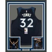 FRAMED Autographed/Signed KARL-ANTHONY TOWNS 33x42 Big KAT Blue Jersey J... - $499.99