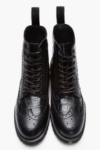 Bespoke Men's Black Wing-Tip Leather High Ankle Lace-Up Formal Leather B... - $139.00+