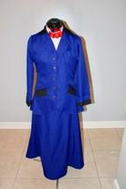 Mujer Mary Poppins Disfraz Azul Real Niñera Chaqueta Falda Blusa Cosplay... - $224.00