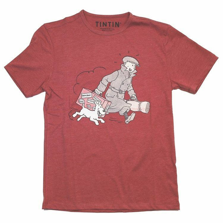 Tintin & Snowy homecoming  red t-shirt Official Tintin product Moulinsart