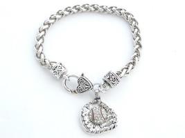 Baseball Softball Glove and Ball Clear Crystal Silver Chain Bracelet Jewelry Mom - $12.65