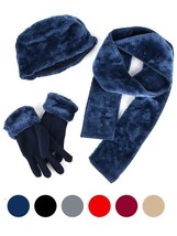 Women's Faux Fur and Fleece 3 Piece gloves scarf Hat Winter Set - $22.99