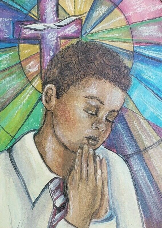 Primary image for Our Father - African American Boy Mixed Media Art Oil Painting by Frank Walcutt