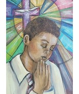 Our Father - African American Boy Mixed Media Art Oil Painting by Frank ... - $350.61