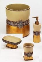 Avanti Linens Braided Medallion 4 Piece Gold Resin Bath Accessory Set - $89.08