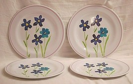 Whimsical Hard Plastic Camping Luncheon Plates Purple & Blue Floral Set ... - $24.74